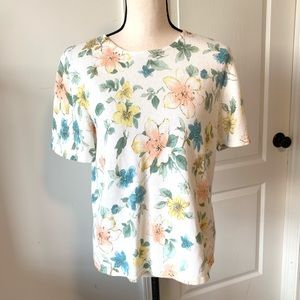 ALFRED DUNNER Floral Beaded Ivory Sweater—SZ. M